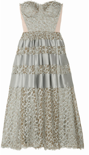 Temperley London Satin-trimmed lace dress