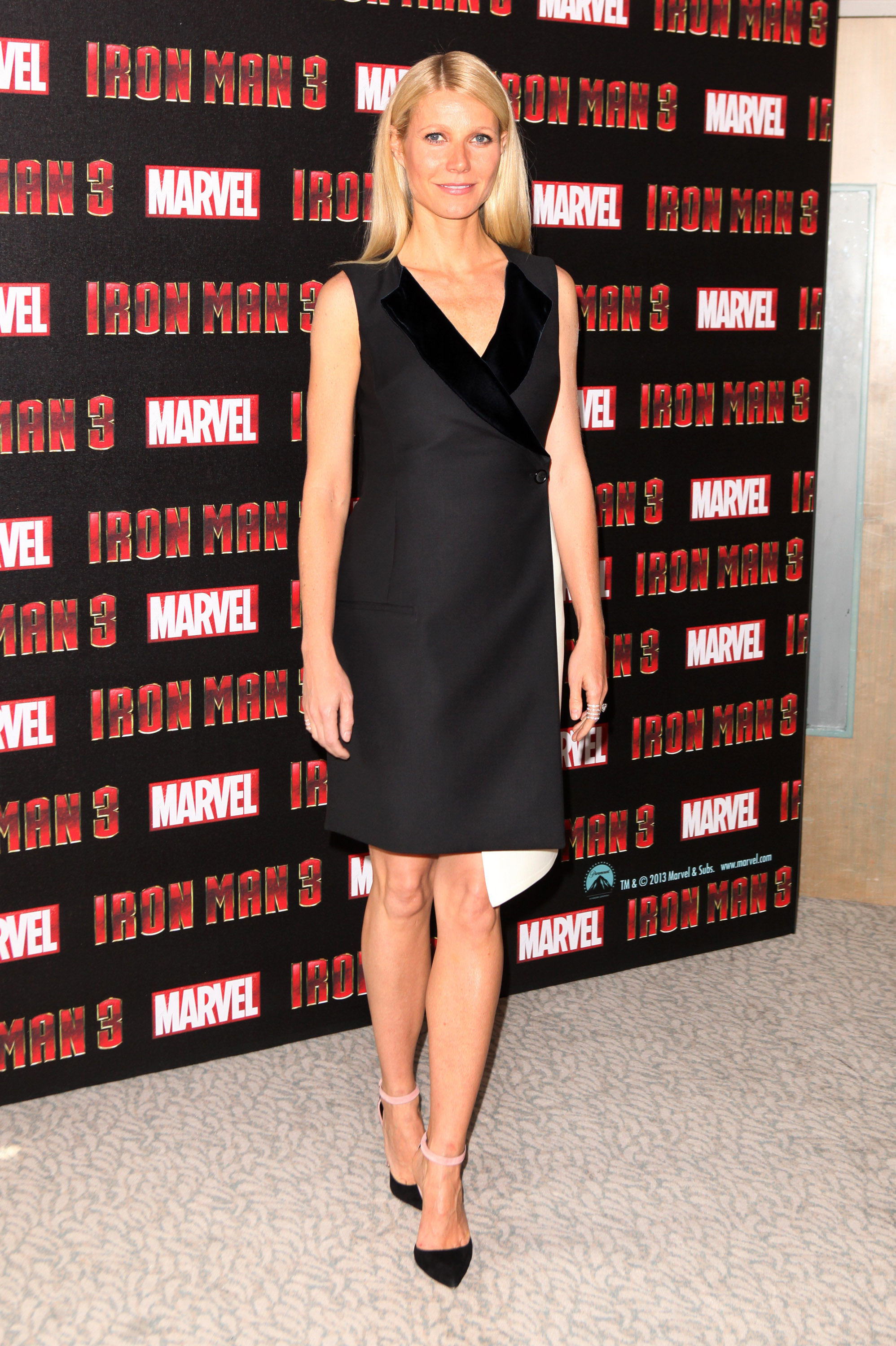 Gwyneth Paltrow wore black and white for a photocall in London.