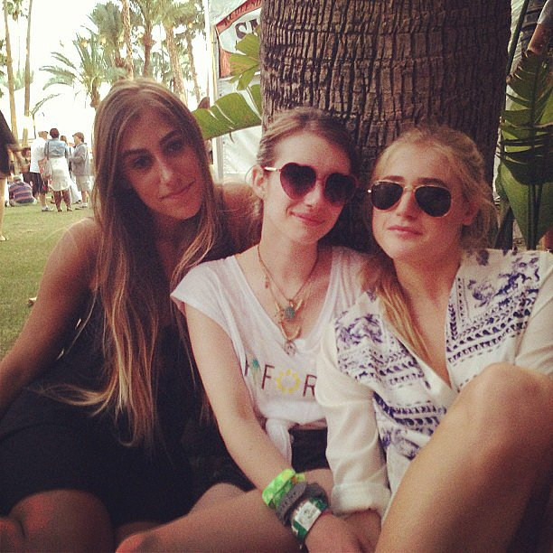 Emma Roberts wore cute heart-shaped sunglasses while hanging out with friends at Coachella. Source: Instagram user emmaroberts6