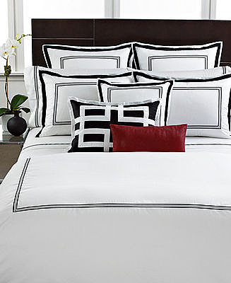 Hotel Collection Bedding, Tuxedo Embroidery Collection Queen Duvet Cover