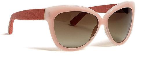 Linda Farrow Luxe Scallop & Salmon Snke Curved Square Sunglasses