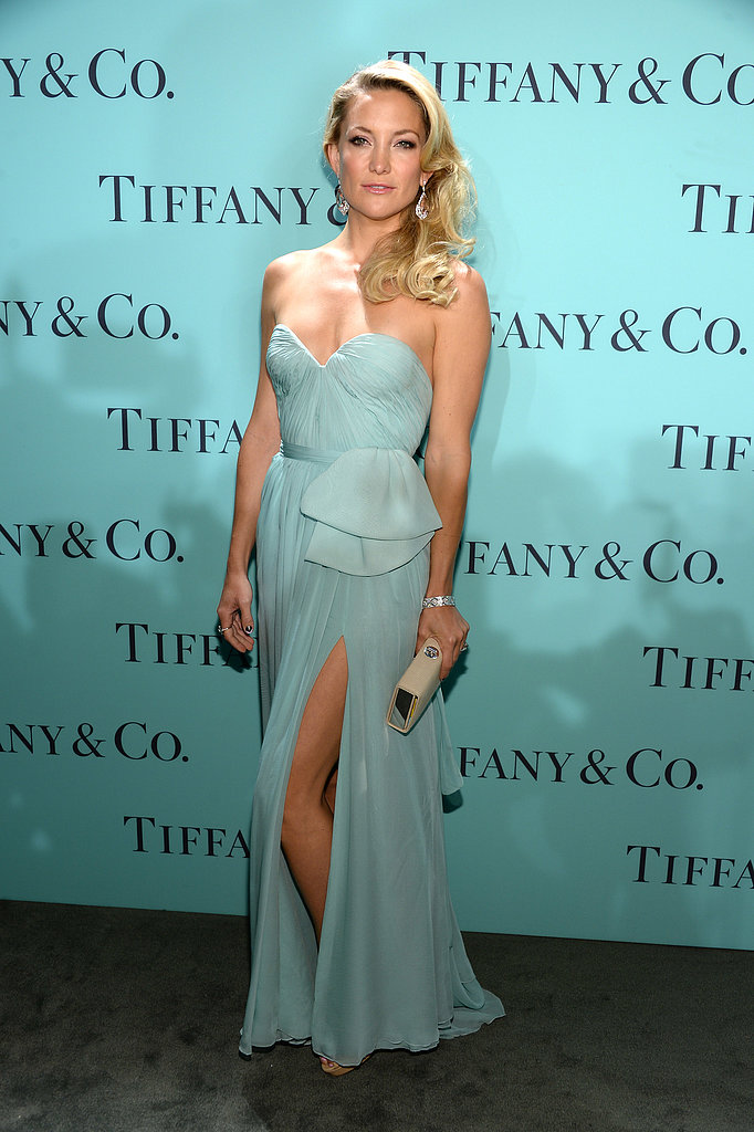 Kate Hudson turned heads in a strapless Tiffany-blue Reem Acra Resort 2013 gown ($4,100) styled with a Tiffany Ava box clutch in light camel textured leather ($1,195), diamond earrings and simple a diamond nature bracelet from the 2013 Blue Book Collection ($135,000).