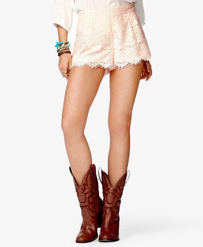 FOREVER 21 High-Waisted Eyelash Lace Shorts