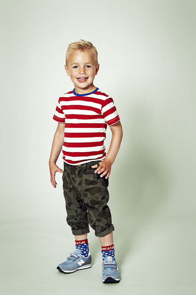 Edgy tots will love the way camouflage and bold stripes complement each other.