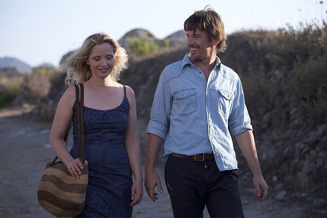 Before Midnight  Who's starring: Julie Delpy and Ethan Hawke Why we're interested: We fell for Hawke and Delpy as Jesse and Celine twice: when they first meet on a train in 1995's Before Sunrise, then when they reunite in 2004's Before Sunset. Now we get to see what becomes of the couple nine years later — and what they have to (articulately) say about it. When it opens: May 24  Watch the trailer for Before Midnight.