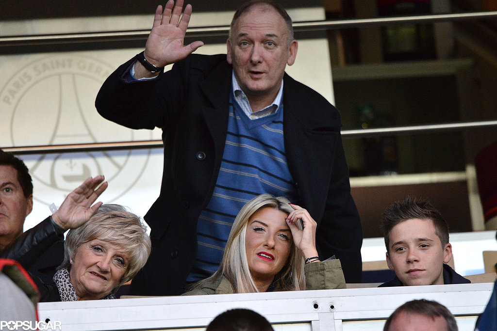 Brooklyn Beckham sat in the stands with David Beckham's parents and sister.