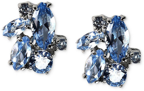 Givenchy Earrings, Silver-Tone Blue Stone Cluster Stud Earrings