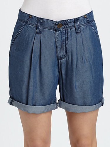 Burberry Brit Washed Denim Pleat-Front Shorts