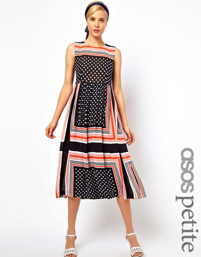 ASOS PETITE Midi Dress In Spot And Stripe Scarf Print