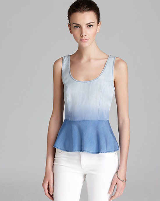 """This Towsen Moonshadow Peplum Top ($110) screams """"perfect Summer top,"""" thanks to its dip-dyed denim finish."""