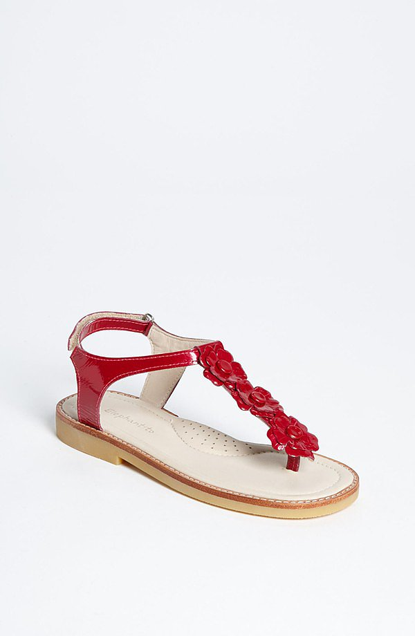 Your little lady in red will love the floral detailing on Elephantito's Bella sandal ($69).