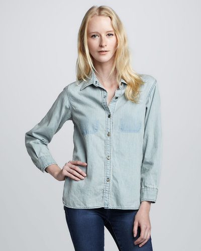 Current/Elliott The Perfect Bottle Cap Denim Shirt