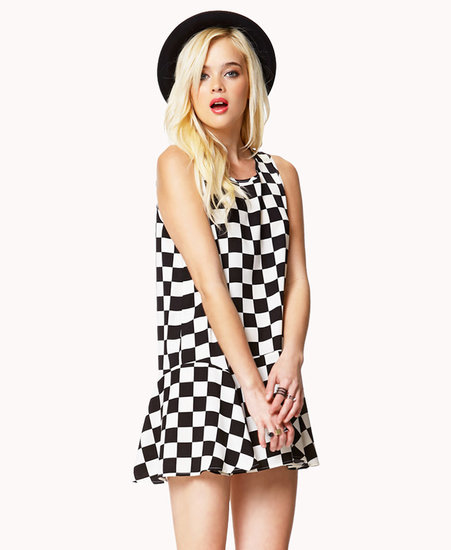 FOREVER 21 Flounced Checkerboard Dress