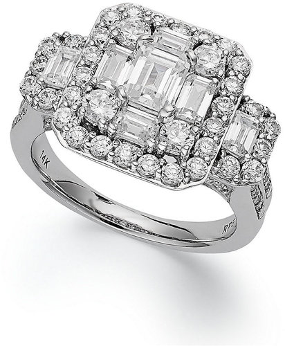 Macy's Emerelle Collection Diamond Ring, 14k White Gold Round and Emerald-Cut Diamond Engagement Ring (2-1/2 ct. t.w.)
