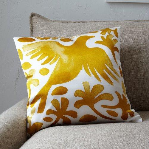 Paulina Reyes Silk Bird Pillow Cover - Yellow
