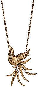 Yochi Gold Plated Bird Pendant Necklace