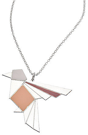 Shlomit Ofir Silver Origami Exotic Bird Necklace