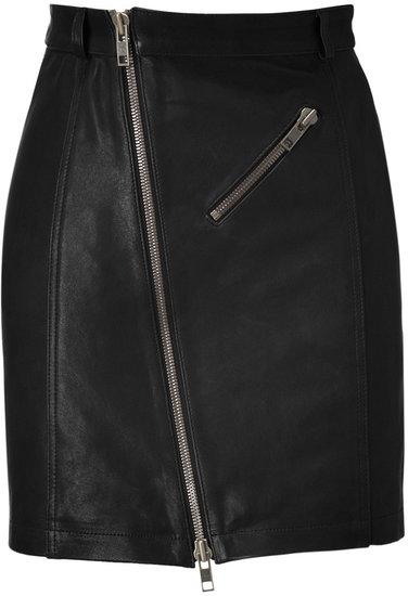 McQ Alexander McQueen Black Zip Leather Pencil Skirt