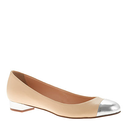 J.Crew's Janey Metallic Cap-Toe Flats ($188) would be the perfect complement to a pleated skirt.