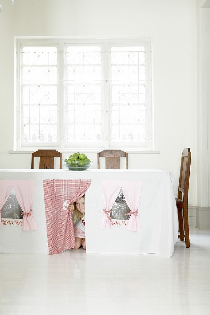 Create a hideaway instantly for your little ones by draping this tablecloth playhouse ($87) over your table. Without messing up the furniture or pulling apart the sofa, you'll easily have a spot where they can escape.