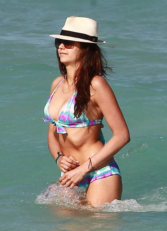 Nina Dobrev wore a multicolored bikini in Miami.