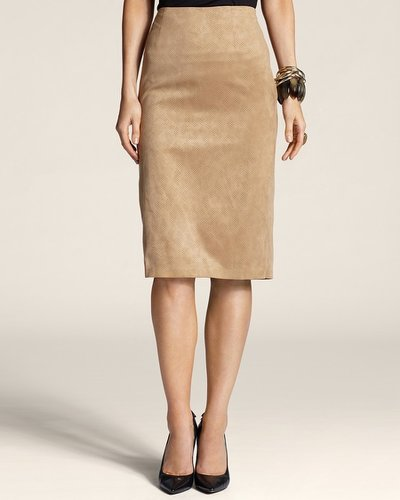 Perforated Faux-Suede Skirt