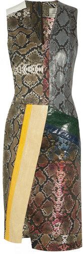 Preen by Thornton Bregazzi Python and stretch cotton-blend dress