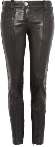 Balmain Cropped leather skinny pants