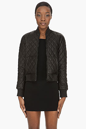 ALEXANDER WANG Black Quilted leather Bomber