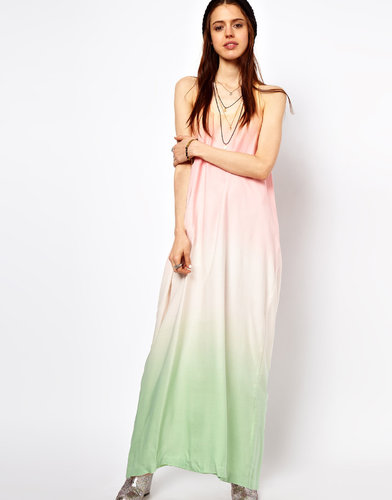 Just Female Dip Dyed Maxi Dress With Tied Racer Back