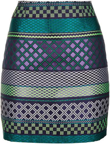 Jacquard Tile Stripe Mini Skirt