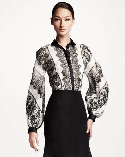 Carolina Herrera Lace Striped Blouse