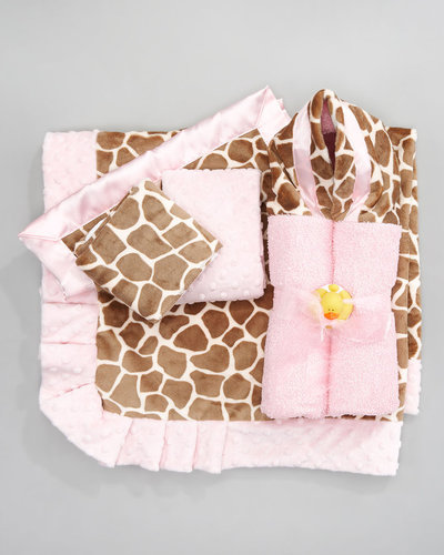 Swankie Blankie Giraffe-Print Burp Cloth Set, Plain
