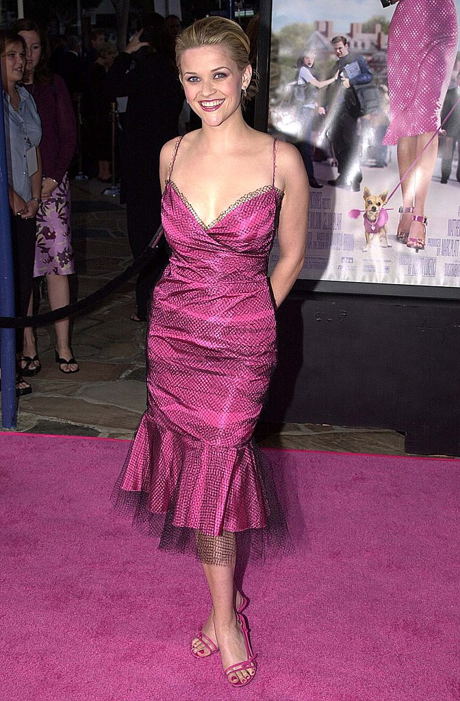 Pink and a tulle-infused fishtail hem did not deter us from noticing just how sexy the low-cut neckline of Reese's pink dress was at the Legally Blonde premiere in 2001.