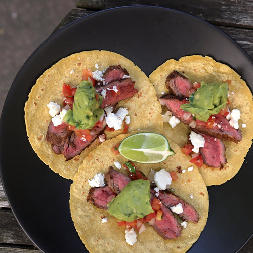 Chile-Spiced Steak And Grilled Onion Tacos Recipe — Dishmaps