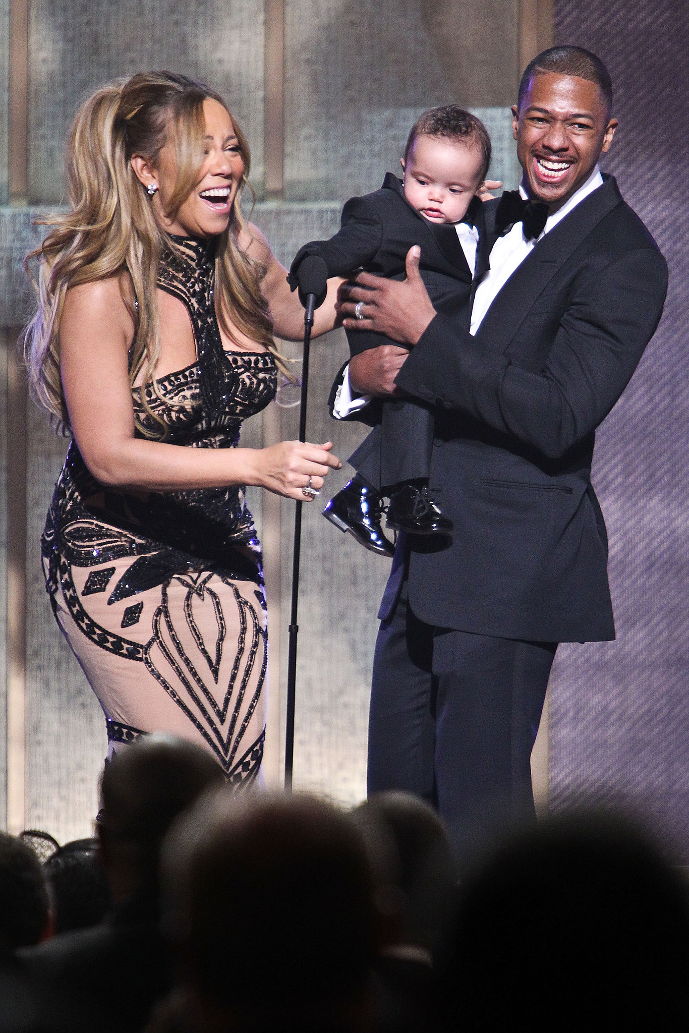 Mariah Carey and Nick Cannon brougt their son, Moroccan Cannon, on stage at the BET Honors show in Washington DC in January 2012.