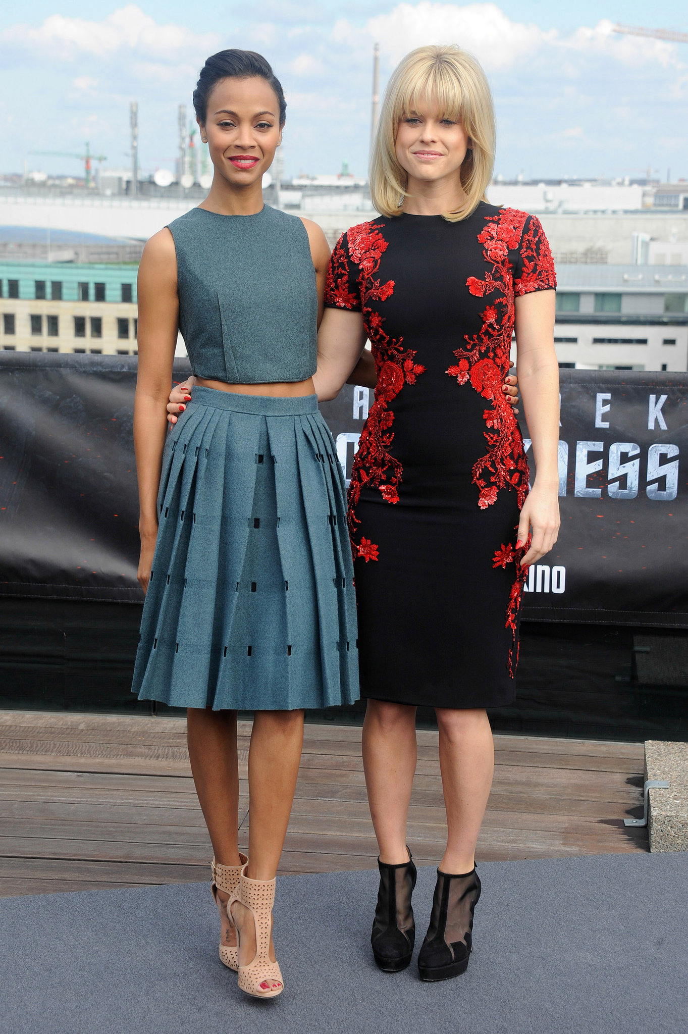 Zoe Saldana and Alice Eve took two distinct styling approaches to the Star Trek Into Darkness photocall in Berlin, and it had everything to do with crop tops and opulent sequin detailing.