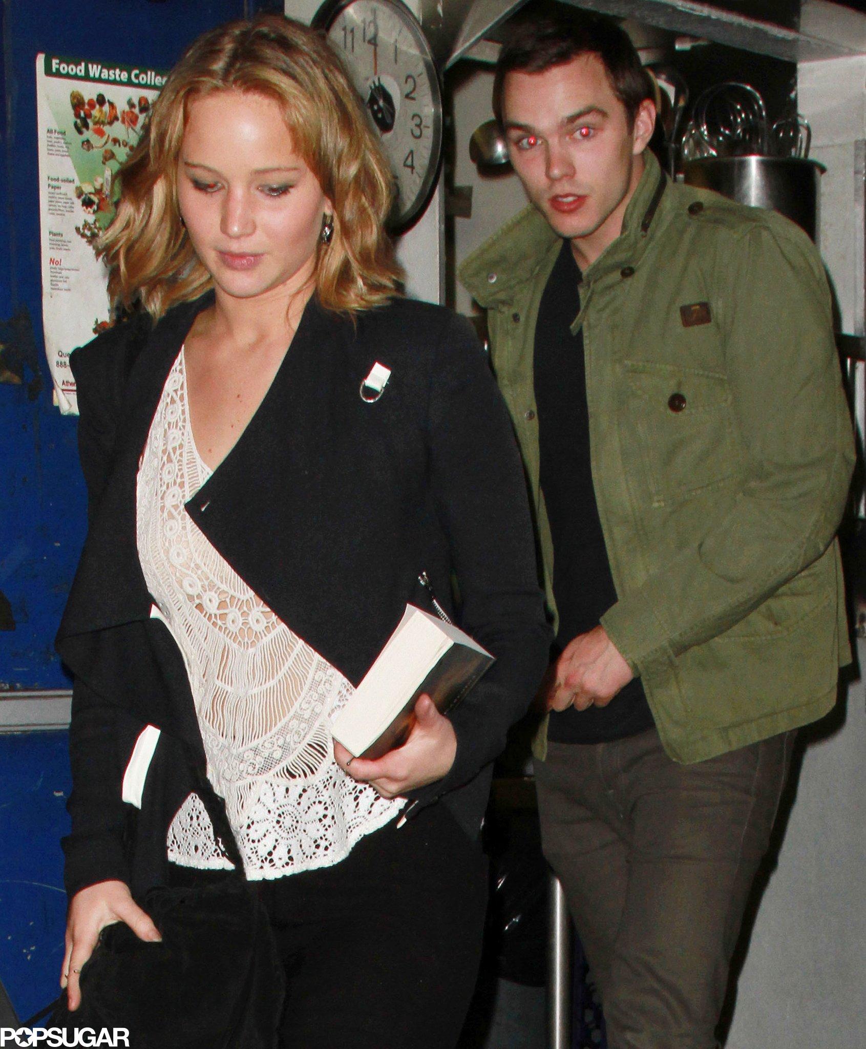 Jennifer Lawrence and Nicholas Hoult left The Little Door restaurant in LA together.