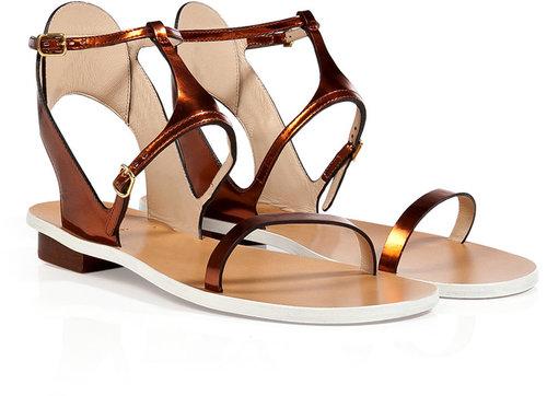 Chloé Leather Flats in Metallic Rust