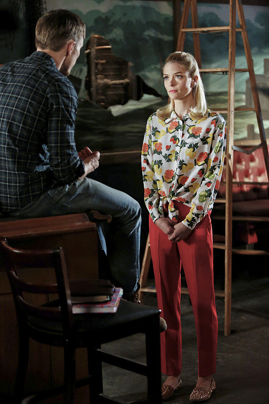 Work Lemon's exact fruit-print Equipment blouse ($99, originally $295) with a pair of fiery red trousers to mimic her high-wattage combo.