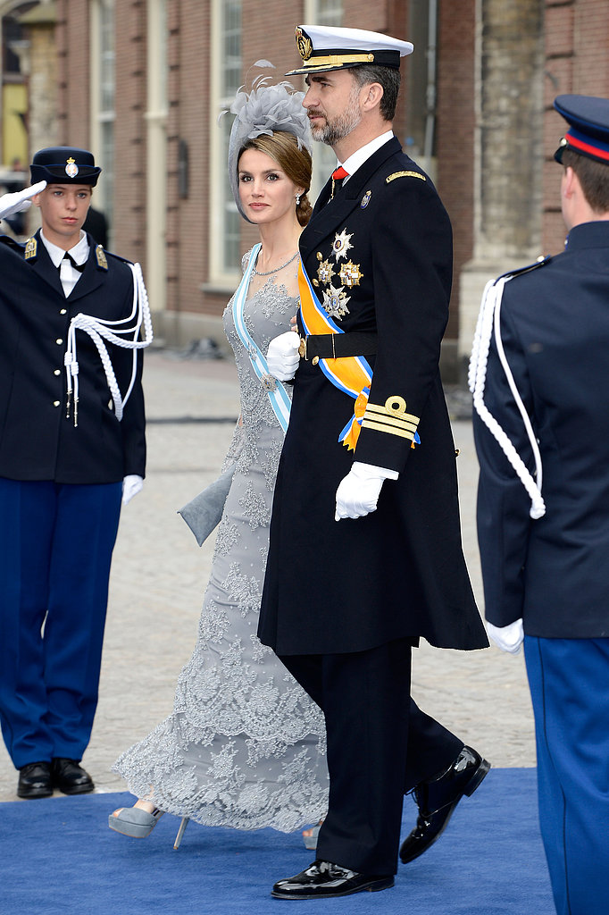 Princess Letizia and Prince Felipe of Spain walked arm in arm.
