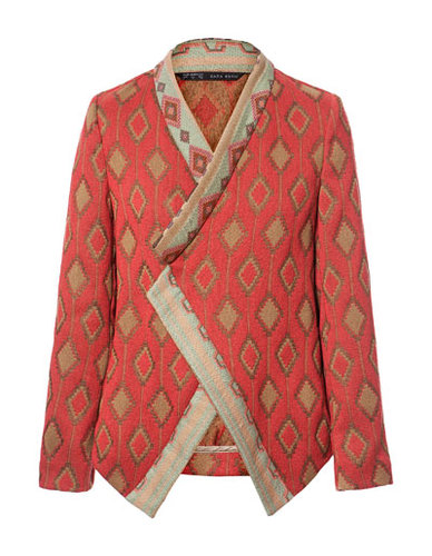 Image 6 of JACQUARD PATTERN CROSSOVER BLAZER from Zara