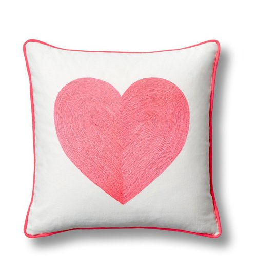 Embroidered Neon Heart Pillow Cover