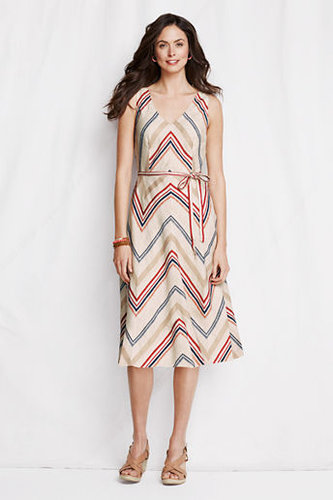 Women's Petite V-neck Stripe Linen Dress