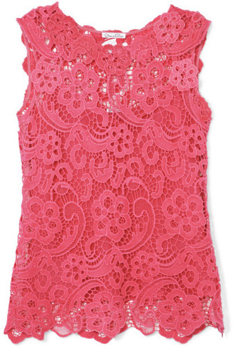 Oscar de la Renta Sleeveless Lace Blouse