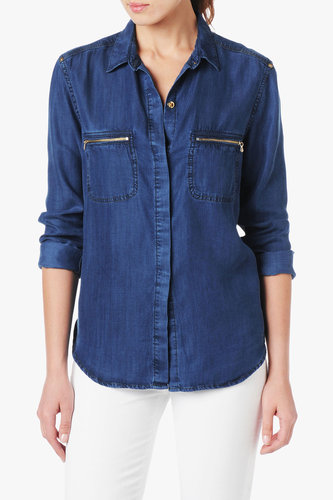 Zipper Pocket Denim Shirt In Dark Indigo