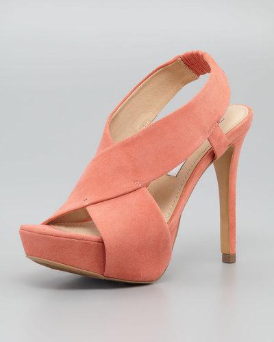 Diane von Furstenberg Zia II Crisscross Sandal, Peach Nectar