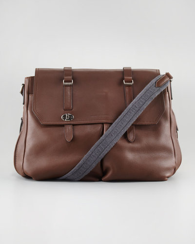 Brunello Cucinelli Contrast-Strap Leather Messenger Bag