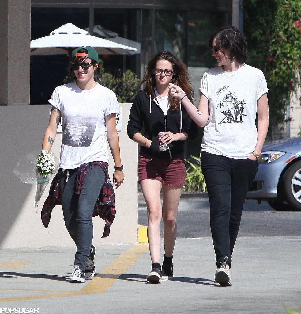 Kristen Stewart wore shorts and a hoodie.
