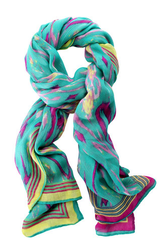 Lightweight Turquoise Multicolor Ikat Scarf | Palm Springs Scarf | Stella & Dot